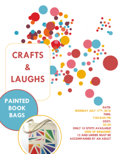 Crafts and Laughs Book Bag SRC 2017 Poster