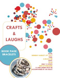 Crafts and Laughs Book Page Bracelets Poster 2017 SRC