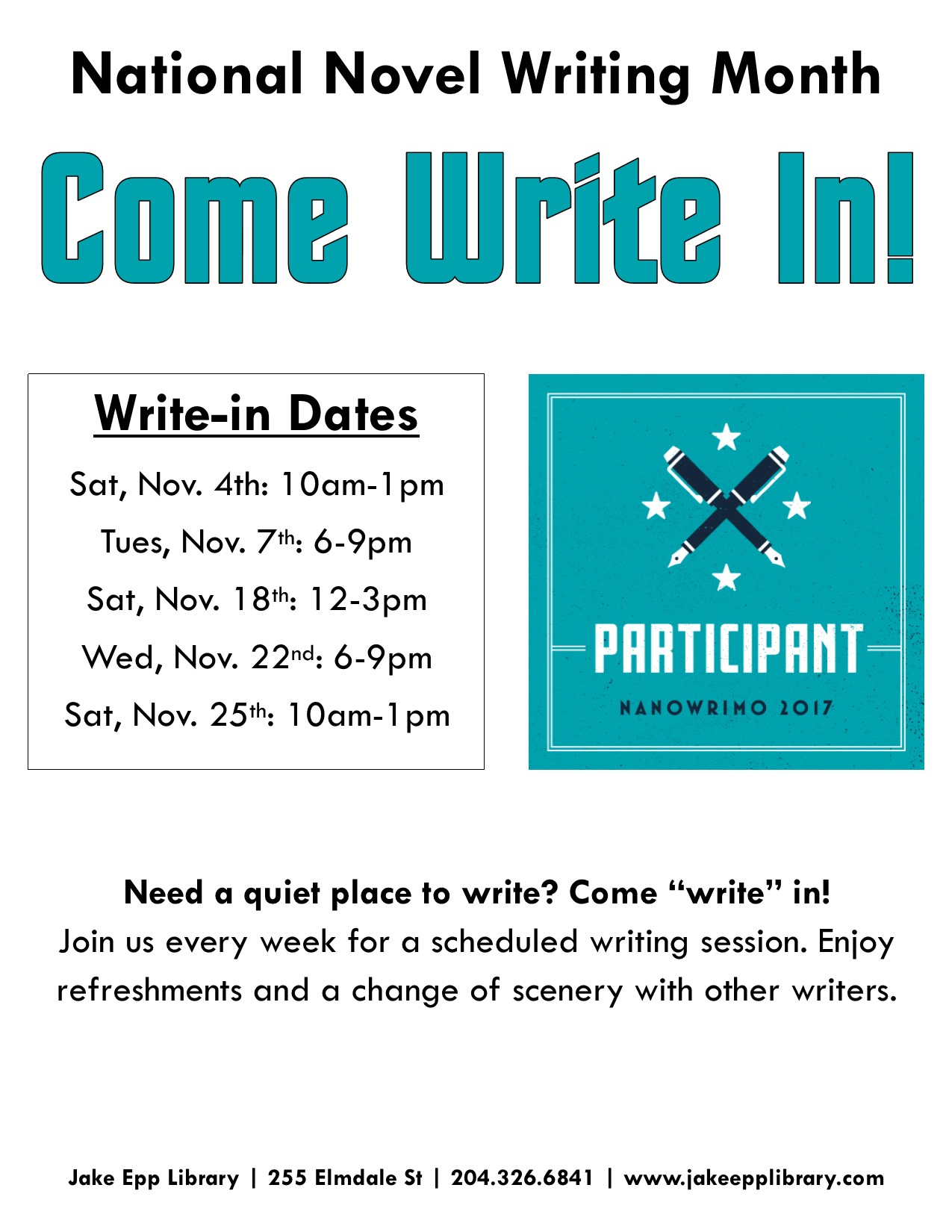 Come Write In Poster 2017