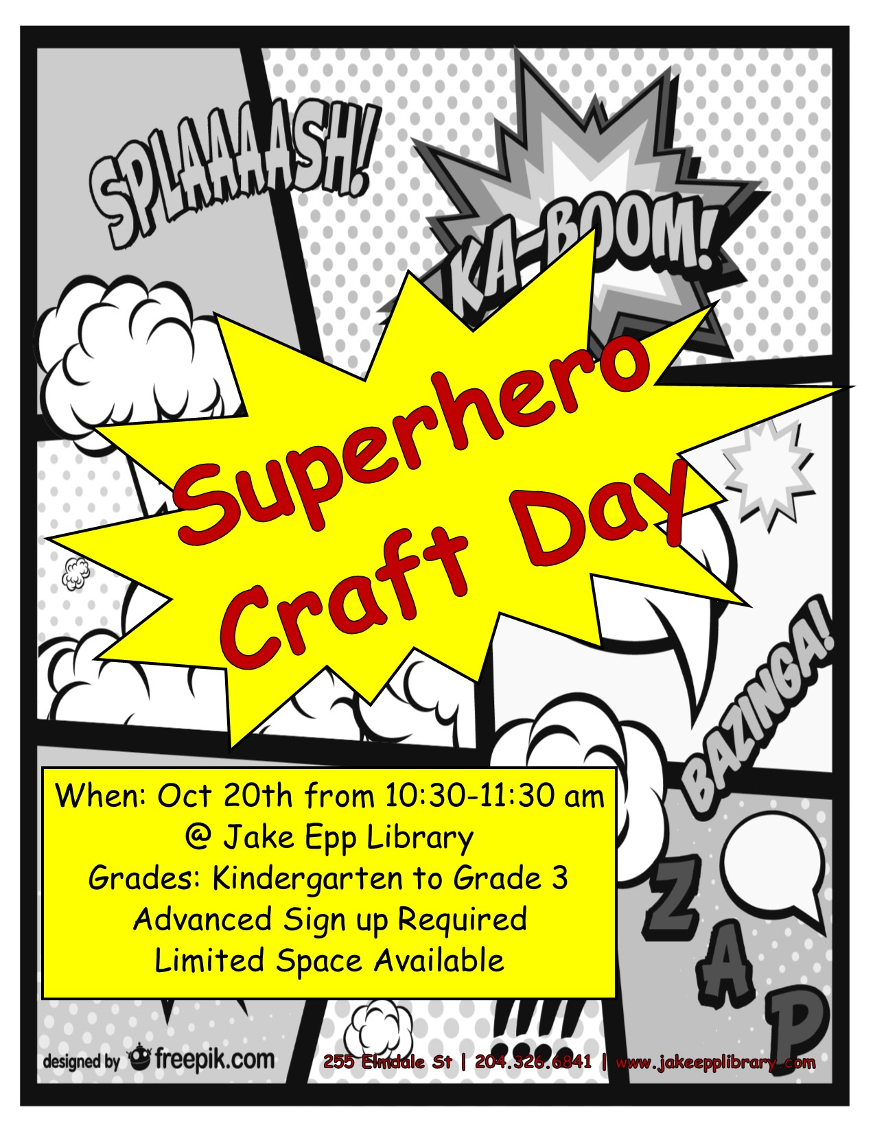 Superhero Craft Day Poster October 2017