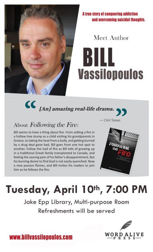 Bill Vassilopolous Author Reading Poster 2018